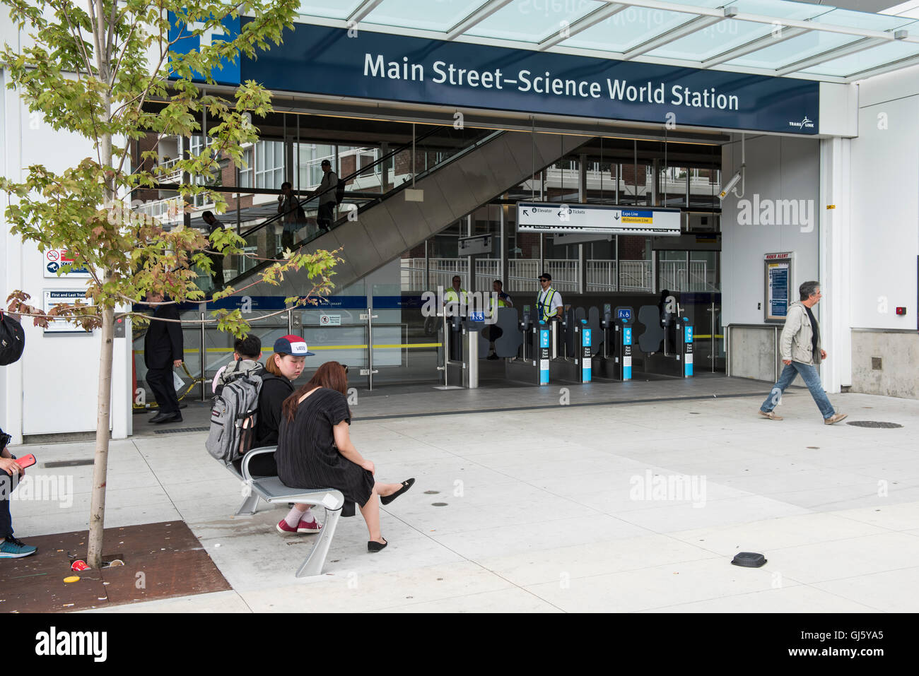 Skytrain Main street-Science World Station entrance, Vancouver British Columbia. Stock Photo