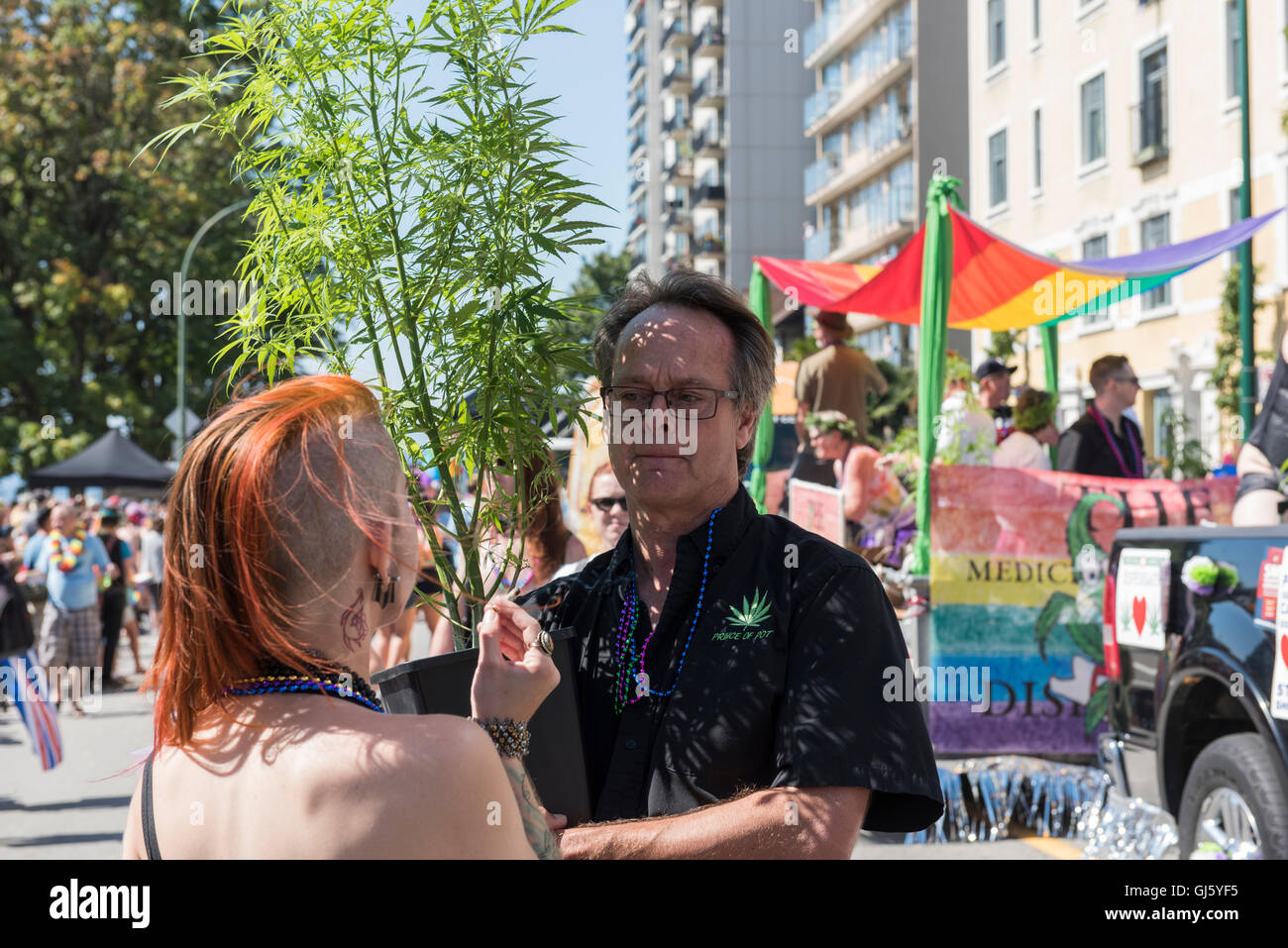 "Canada's ""Prince of Pot"" Marc Emery, at the 2016 Vancouver Pride Parade. Stock Photo"