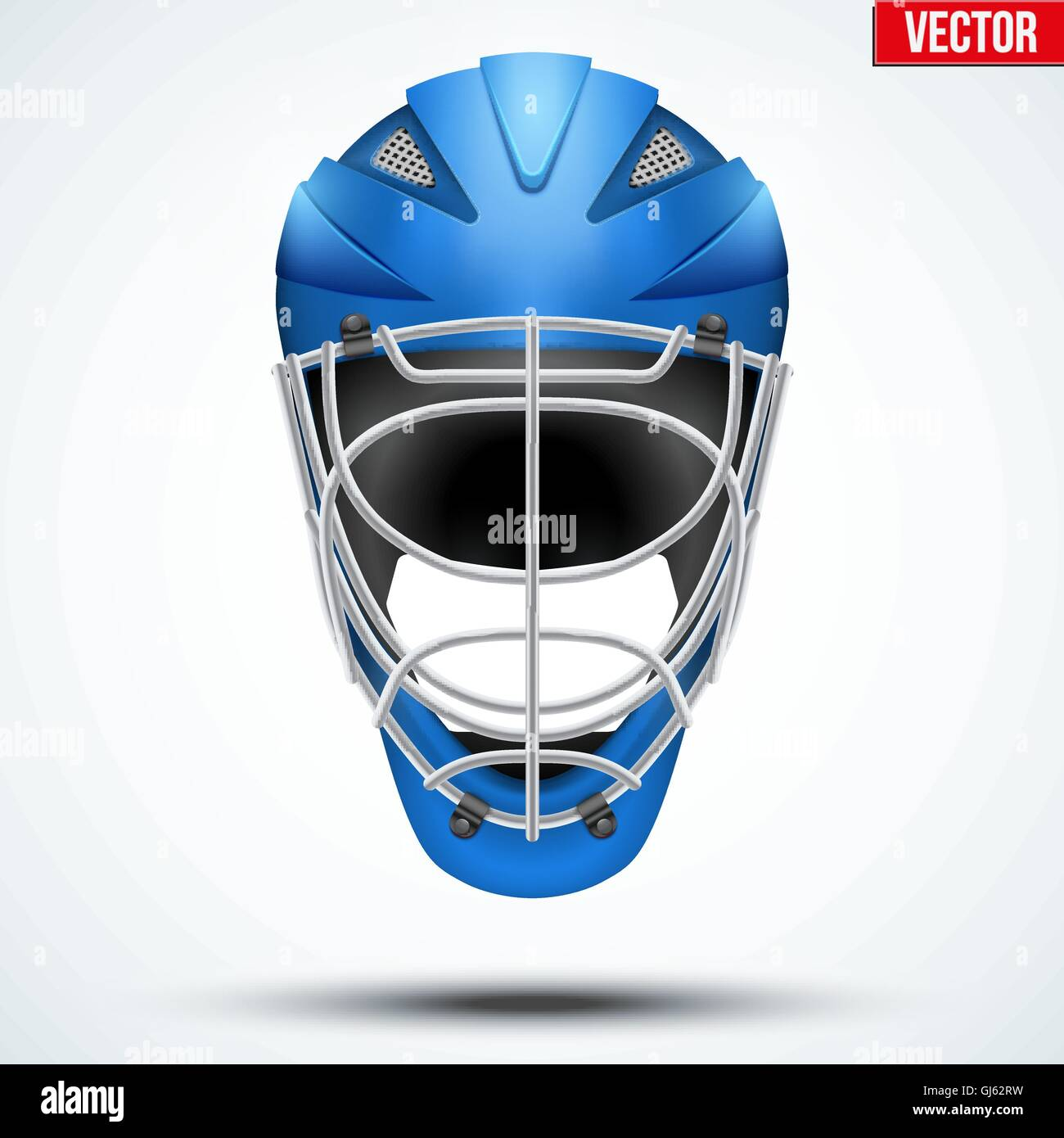 Classic blue Goalkeeper Hockey field Helmet isolated on Background. - Stock Image