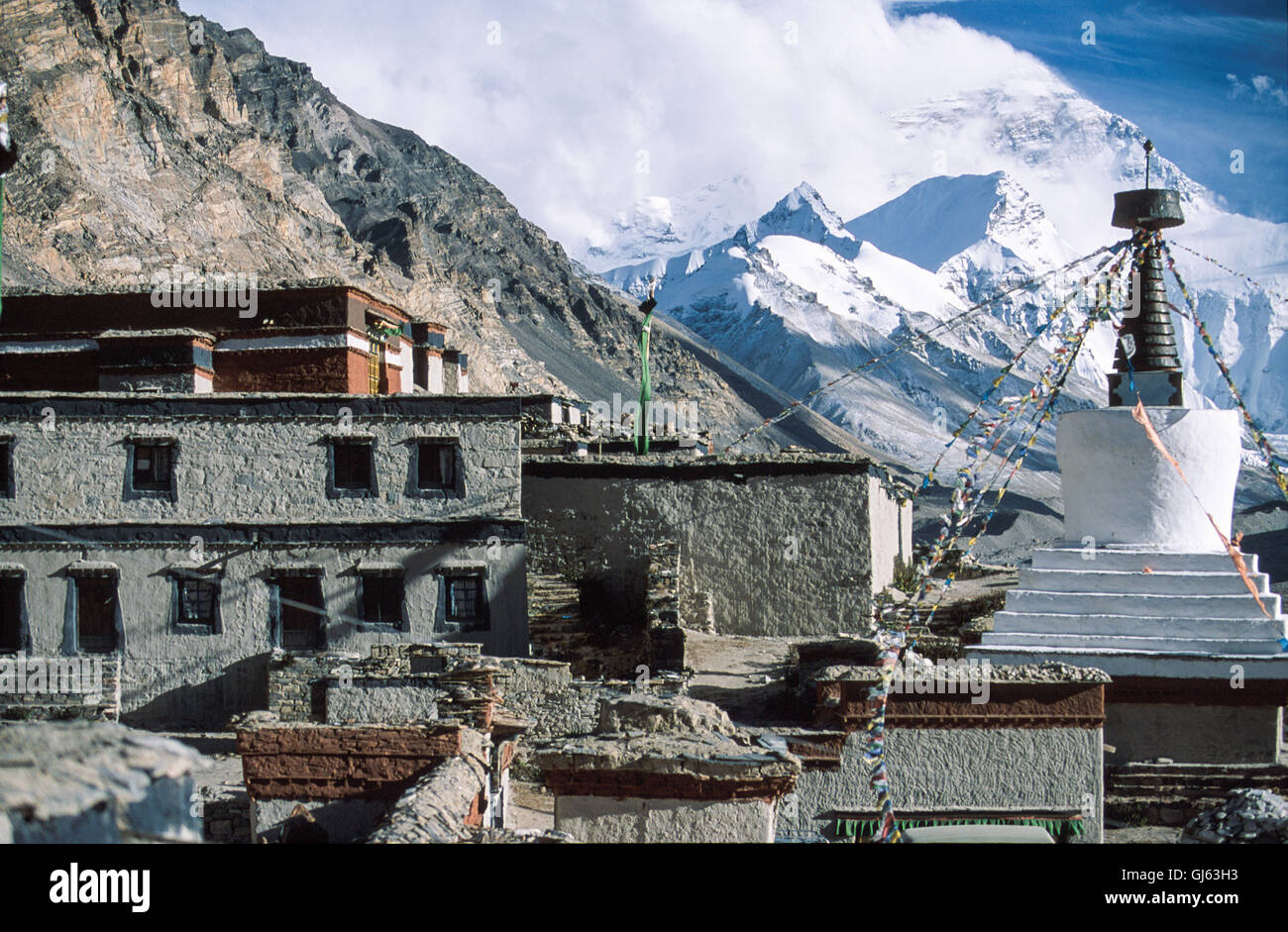 Rongbuk  monastery, which  featured  in  Michael  Palin's  'Himalaya'  tv  series  with  North  Face - Stock Image