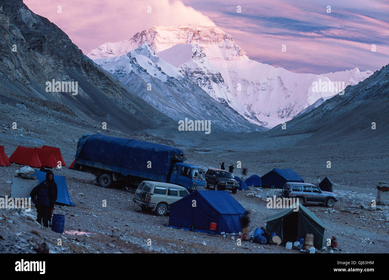 Mount Everest (8,848 metres ) looming up at the end of the valley viewed from Rongbuk Monastery at sunset with our - Stock Image