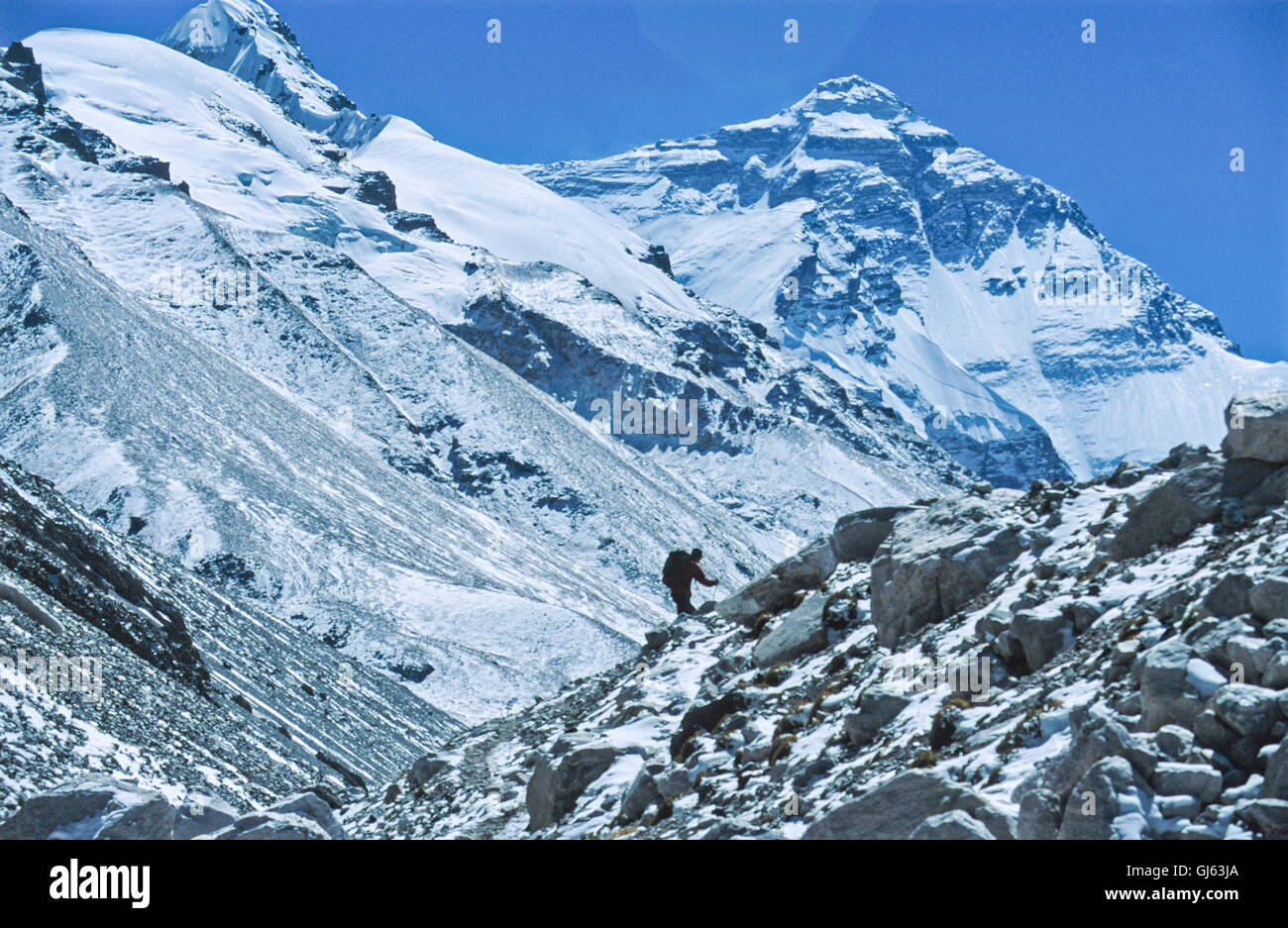 Mount Everest and (8,848 metres) British trekker heading up a trail alongside the Rongbuk Glacier between Everest - Stock Image
