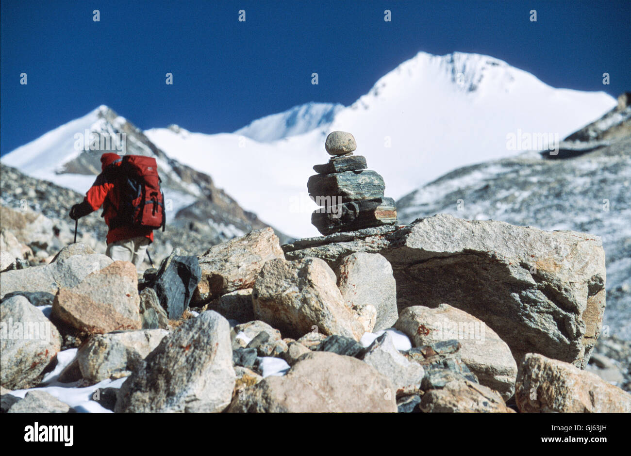 British trekker, part of our group of fifteen between Everest Base Camp (5,200 metres) and camp I (5,460 metres) - Stock Image