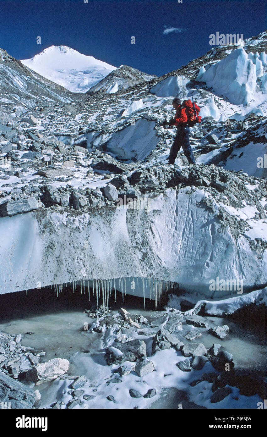 British trekker, part of our group of fifteen on East Rongbuk Glacier the famous George Mallory's Magic Highway' - Stock Image