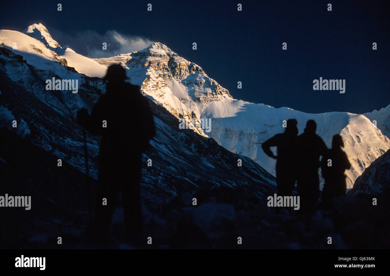Trekkers from our expedition group of fifteen as they descend from Camp I (5,460 metres) to Everest Base Camp( 5,200 - Stock Image