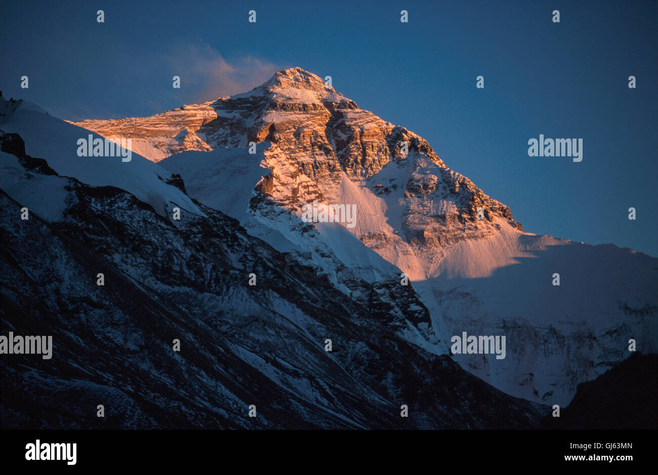 Mount Everest (8,848 metres ) looming up at the end of the Rongbuk Valley at sunset. Photo taken between Camp I - Stock Image