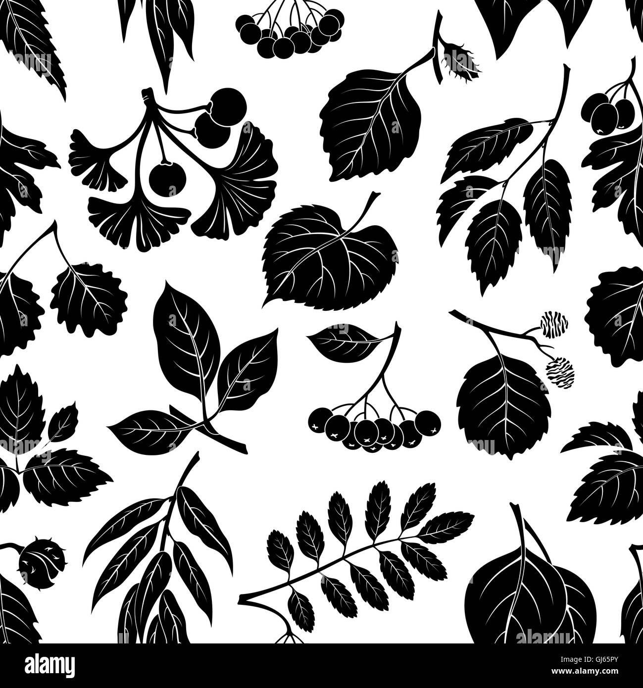 Leaves of Plants Pictogram, Seamless - Stock Image