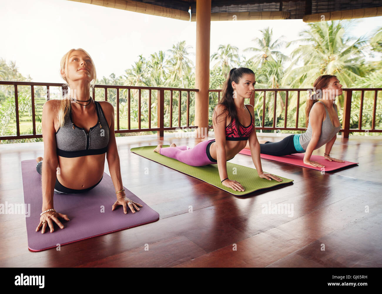 Shot of young women doing cobra pose on fitness mat at health club. Three female doing core stretch in row at the - Stock Image