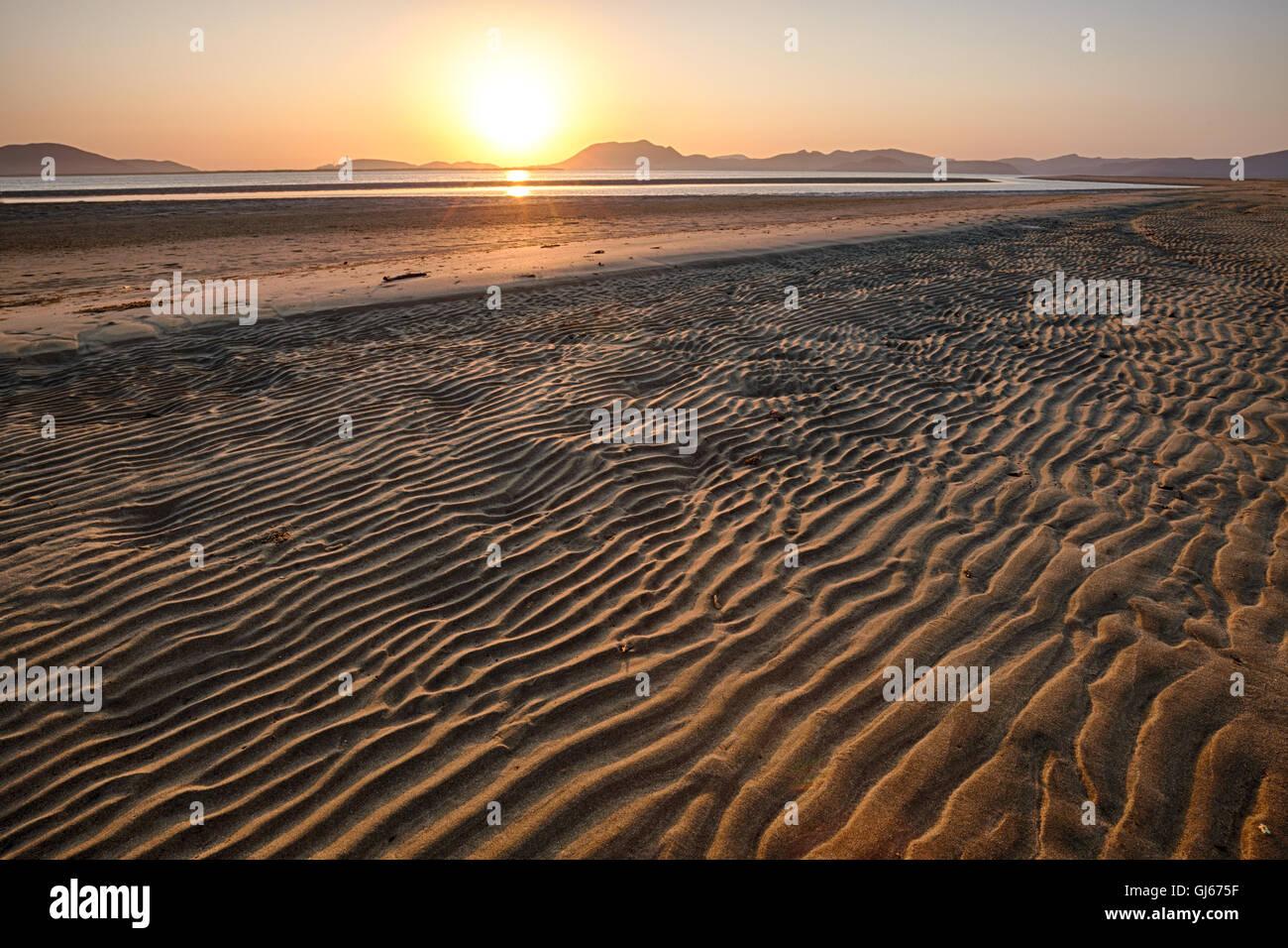 The rippled beach of Maviri at sunrise, Topolobampo, Sinaloa, Mexico. - Stock Image