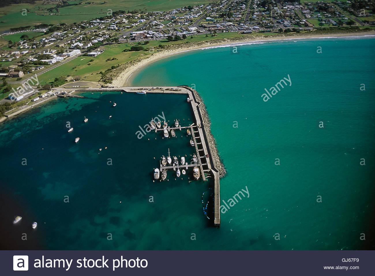 Aerial view of Apollo Bay, Great Ocean Road, Victoria Australia, looking north - Stock Image