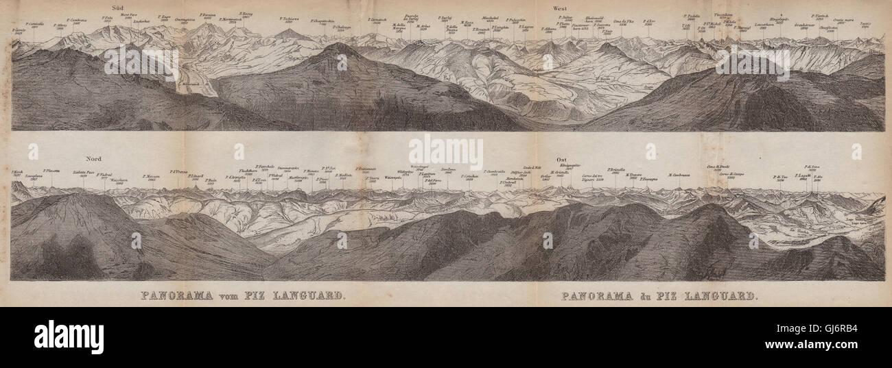 PIZ LANGUARD PANORAMA. Bernina Roseg Monte Rosa Mont Blanc Cristallo, 1899 map Stock Photo