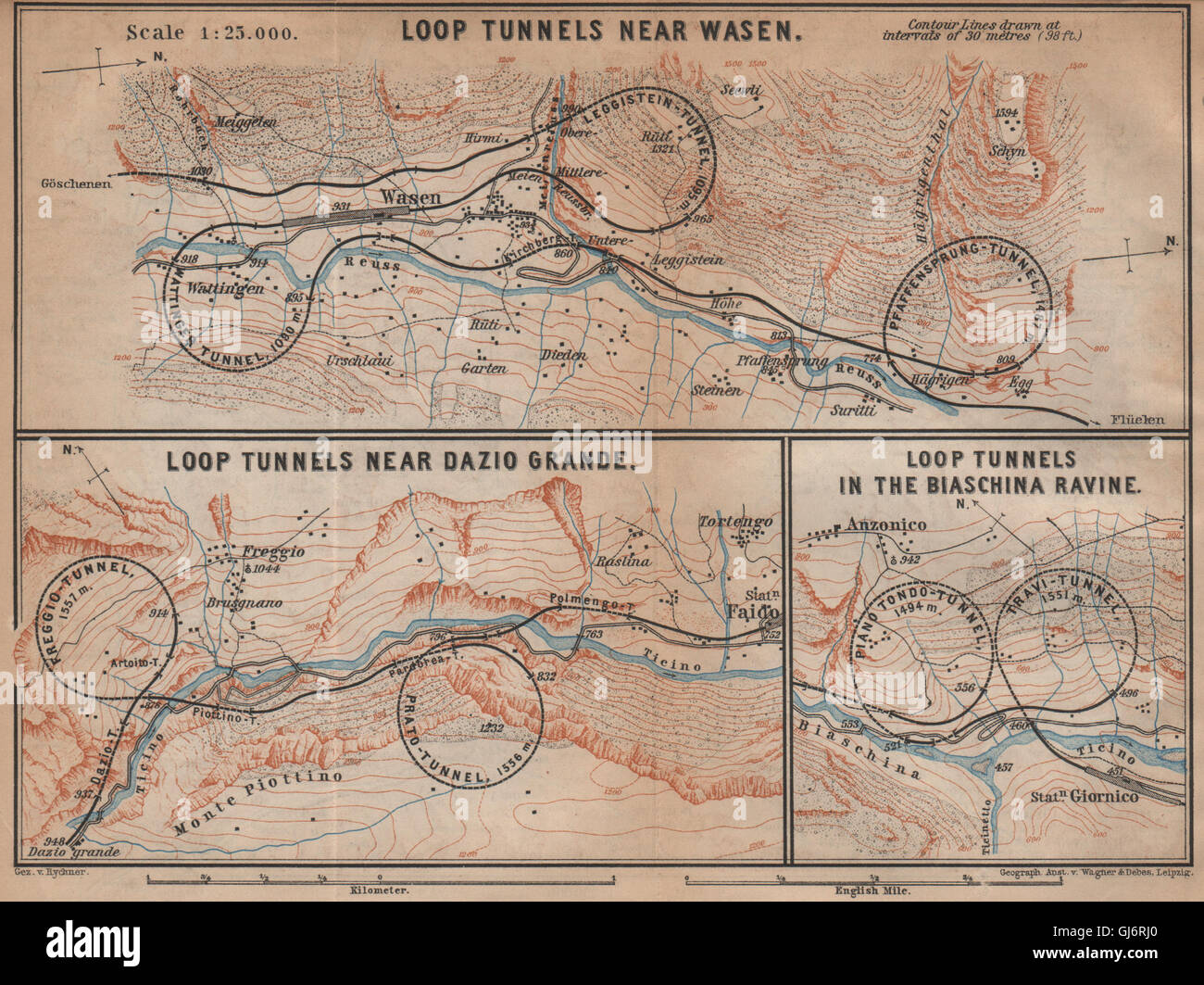 ST GOTTHARD RAILWAY SPIRAL/LOOP TUNNELS Wassen Freggio Prato Biaschina, 1901 map Stock Photo