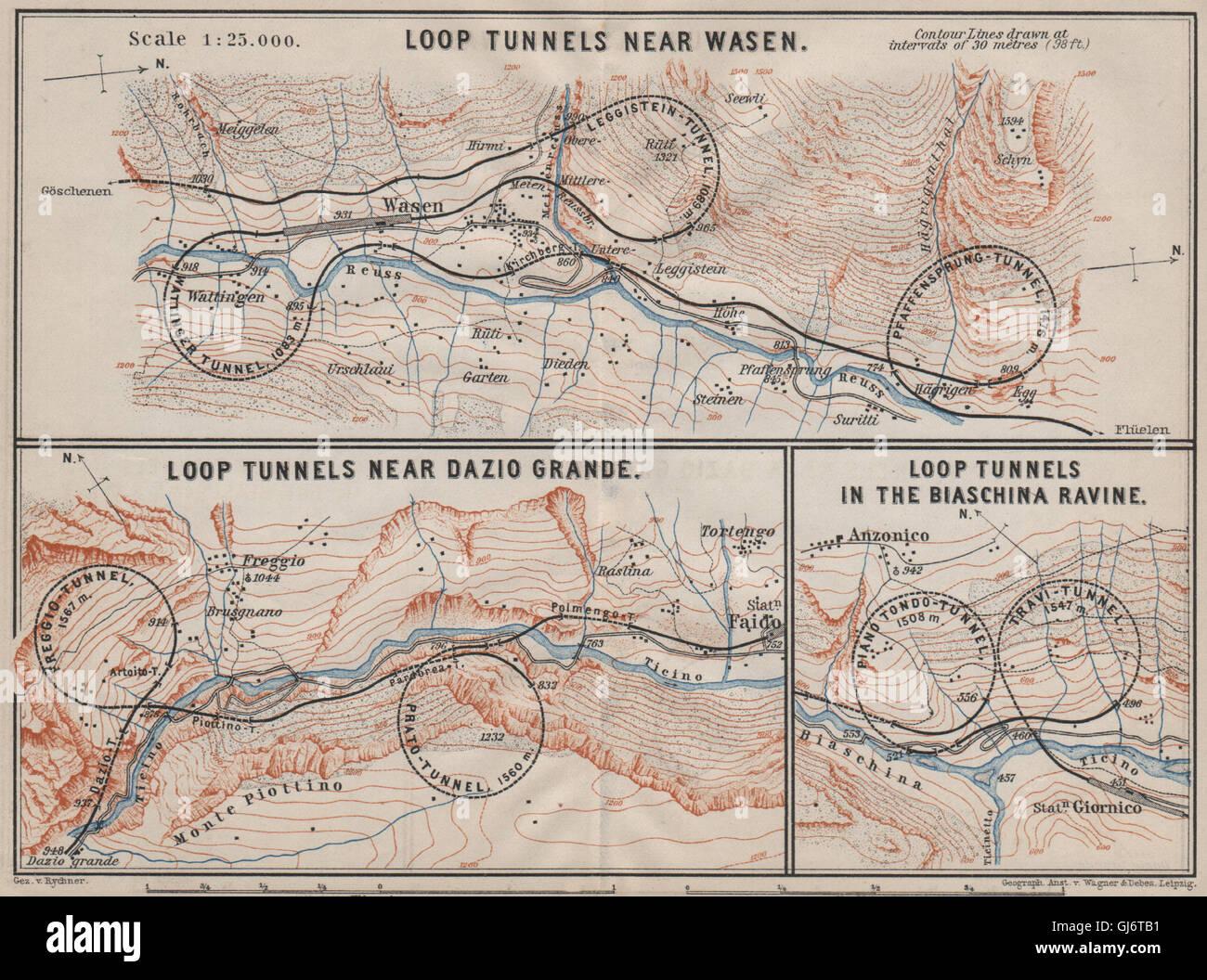 ST GOTTHARD RAILWAY SPIRAL/LOOP TUNNELS Wassen Freggio Prato Biaschina, 1905 map Stock Photo
