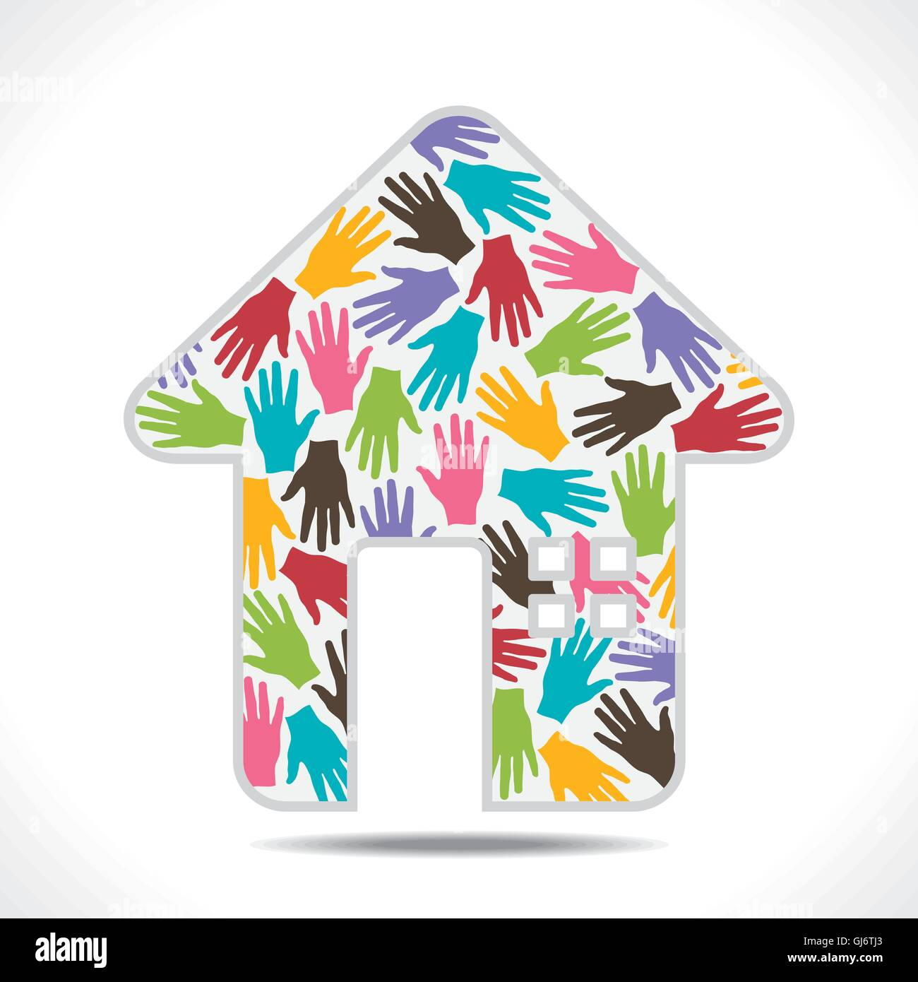 colorful hand pattern design home symbol vector - Stock Vector