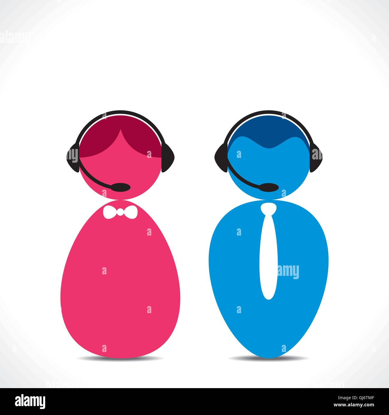 male female call center people icon vector - Stock Vector