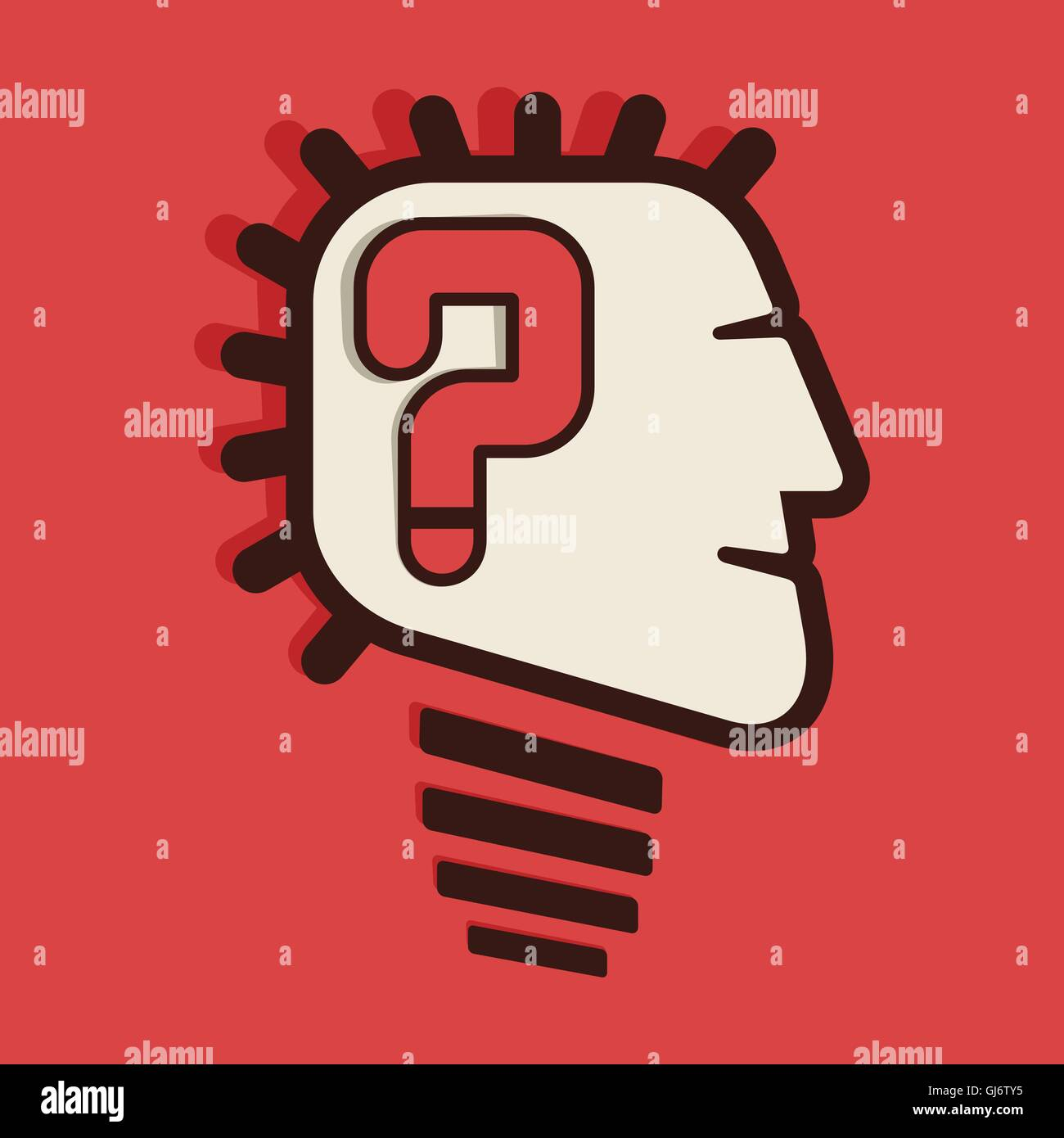 question mark in head - Stock Image