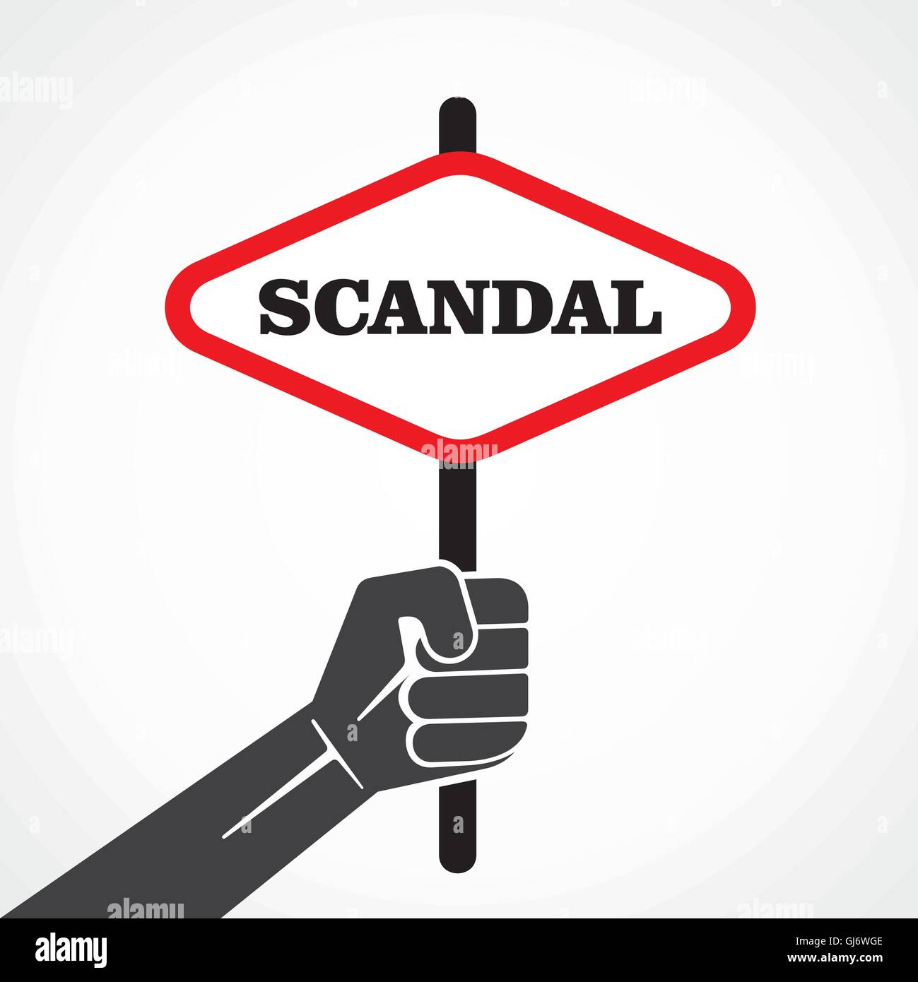 scandal placard hold in hand stock vector - Stock Image