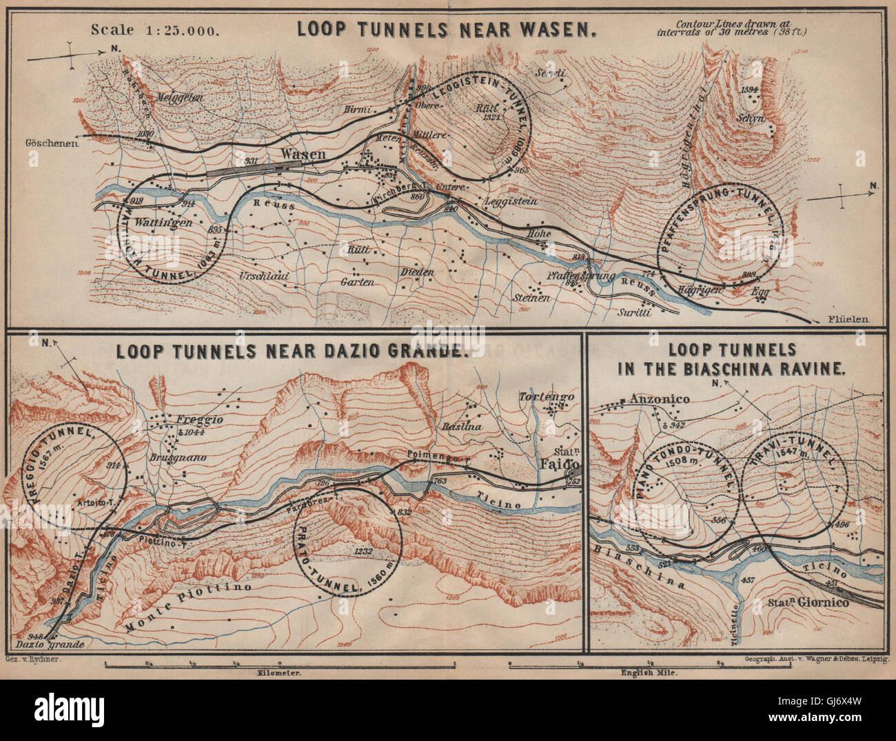 ST GOTTHARD RAILWAY SPIRAL/LOOP TUNNELS Wassen Freggio Prato Biaschina, 1907 map Stock Photo