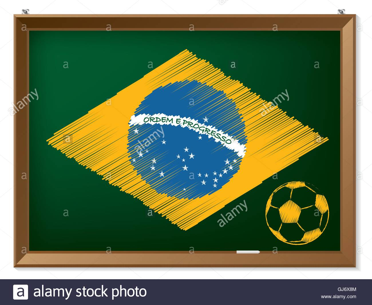 Brasil flag and soccerbal on chalkboard - Stock Image