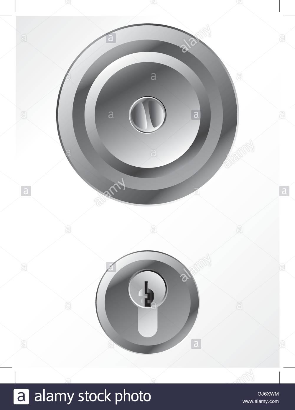 Door knob with lock - Stock Vector