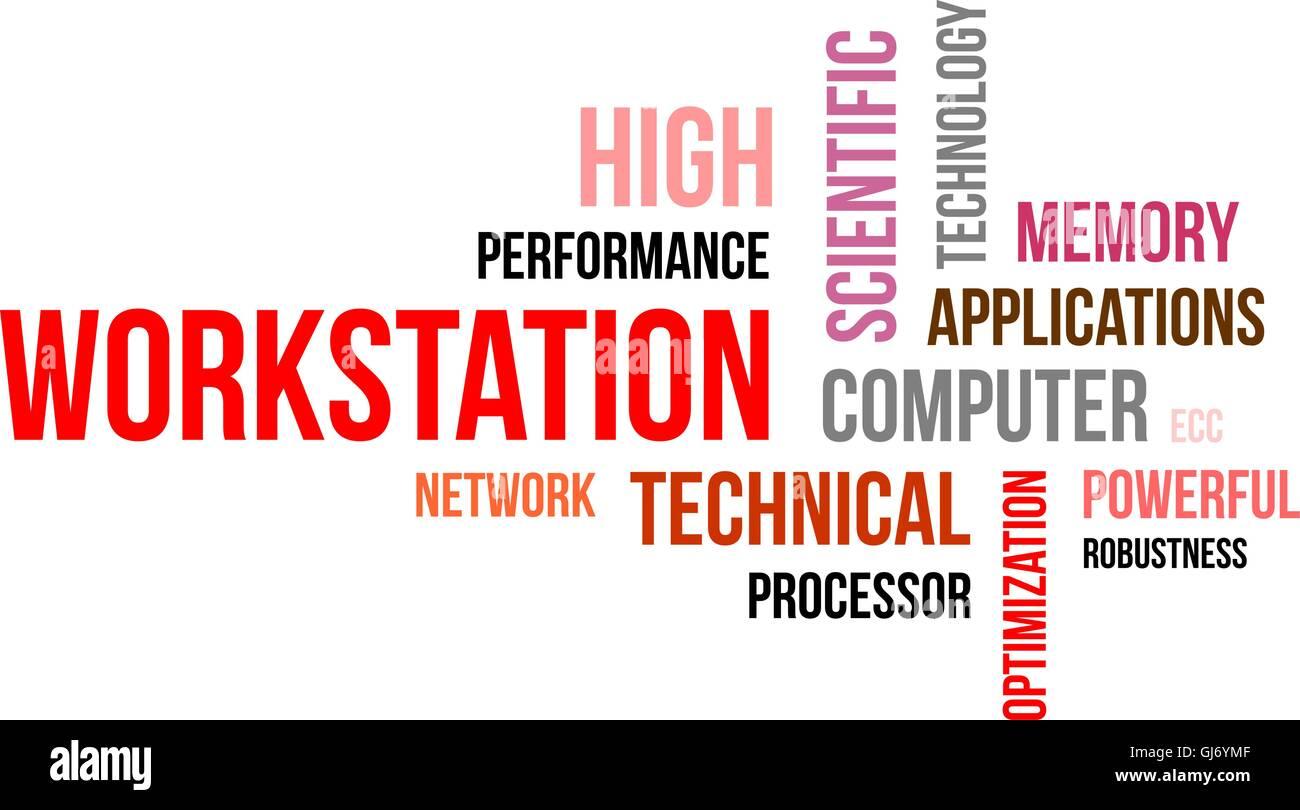 word cloud - workstation Stock Vector