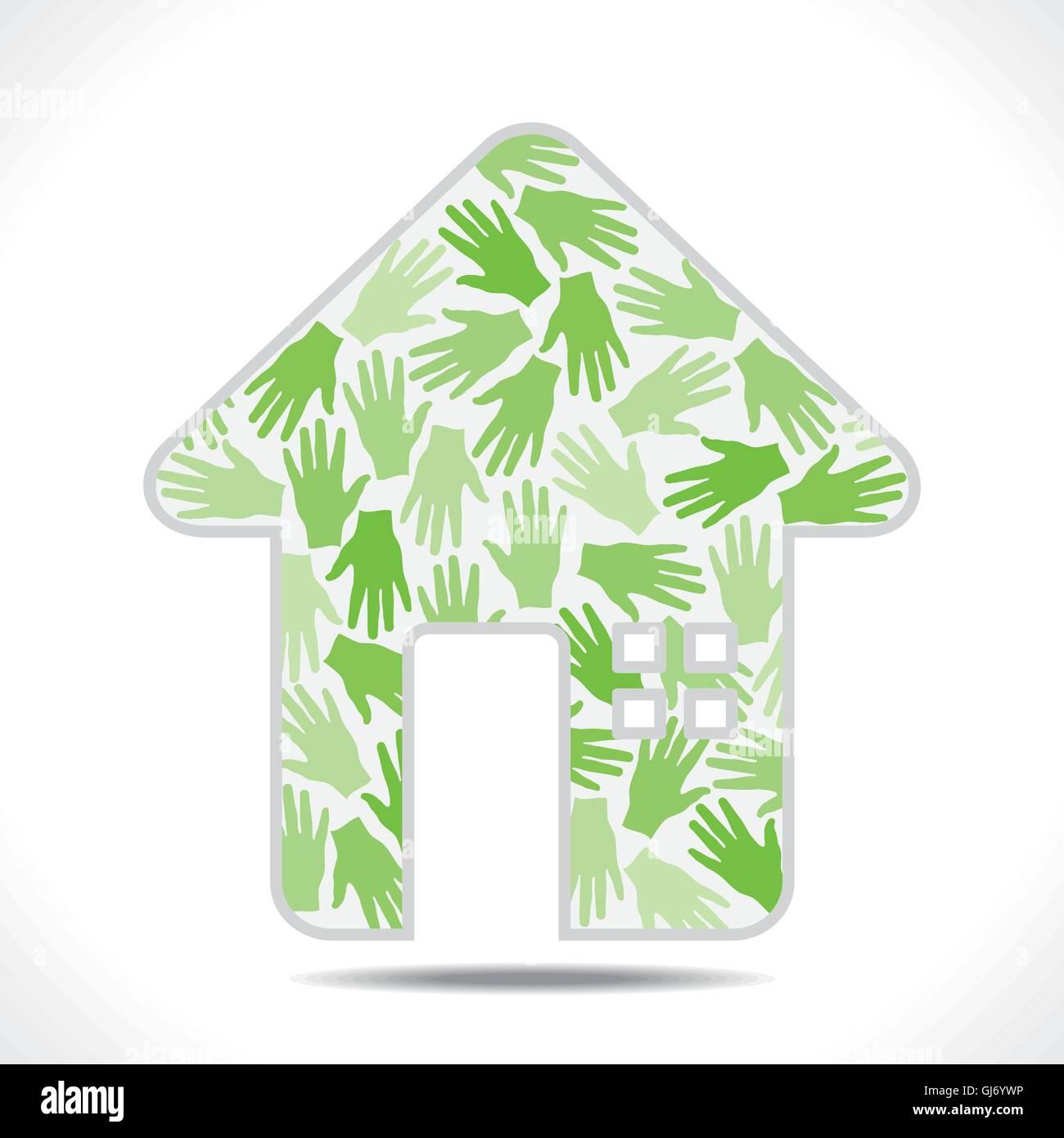 green hand pattern design home symbol vector - Stock Vector