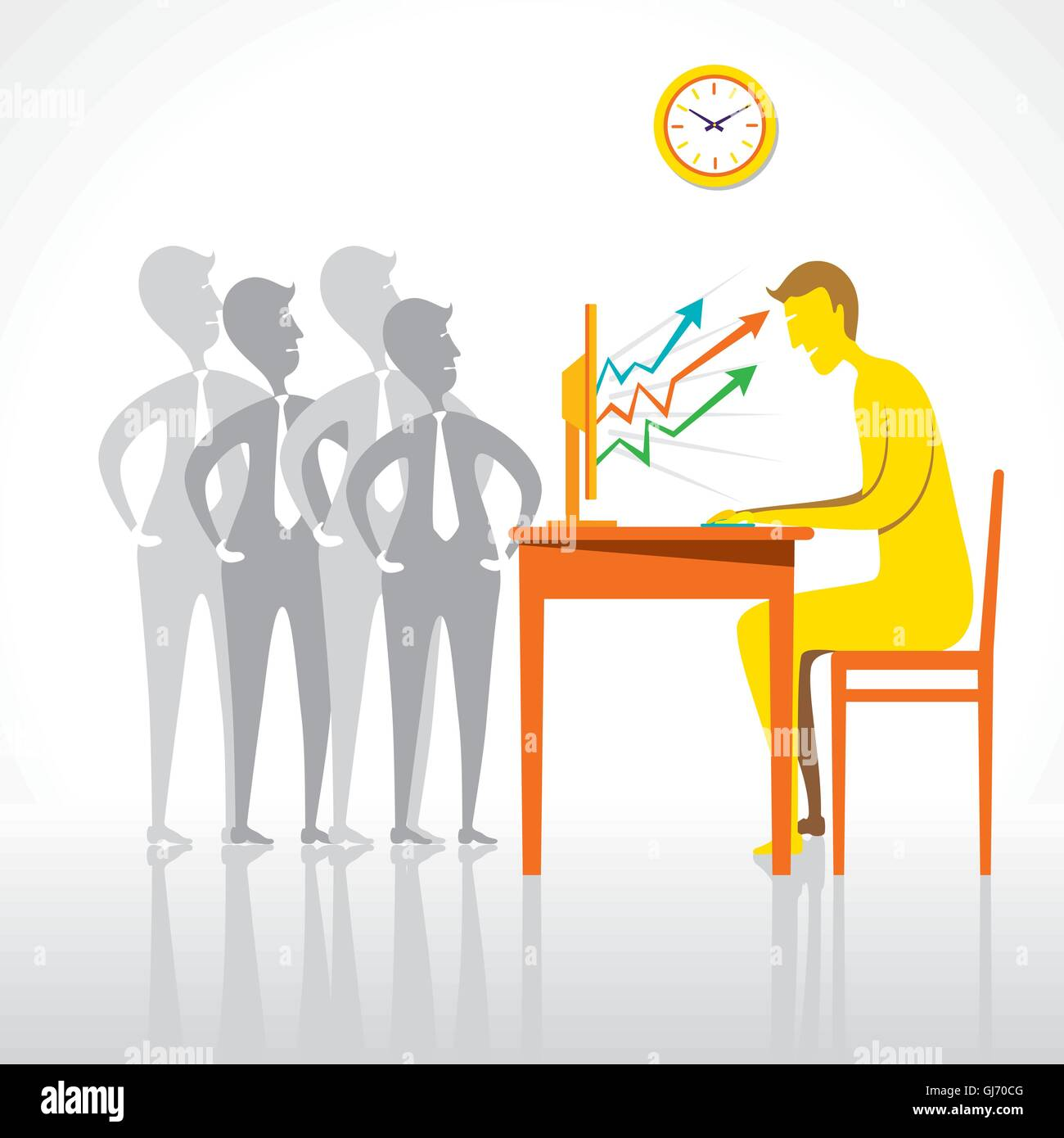 online work with share trading or business growth graph concept vector - Stock Image