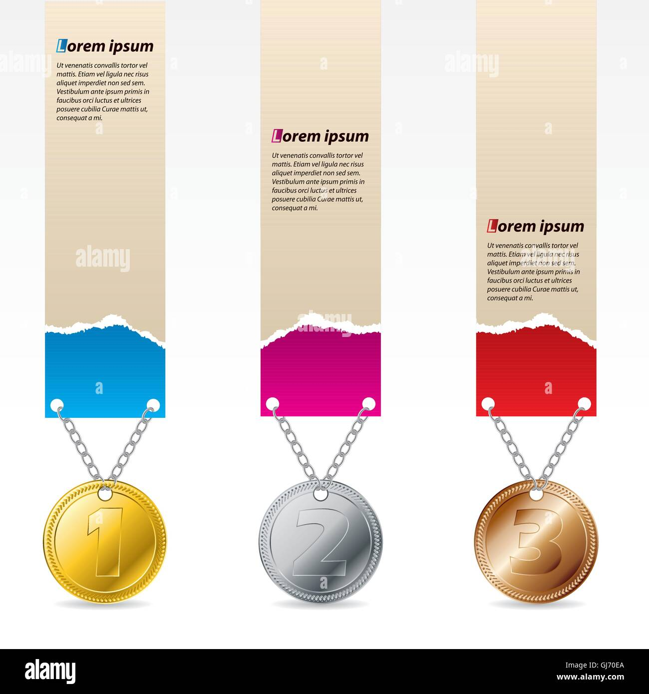 1st, 2nd and third prize labels - Stock Vector