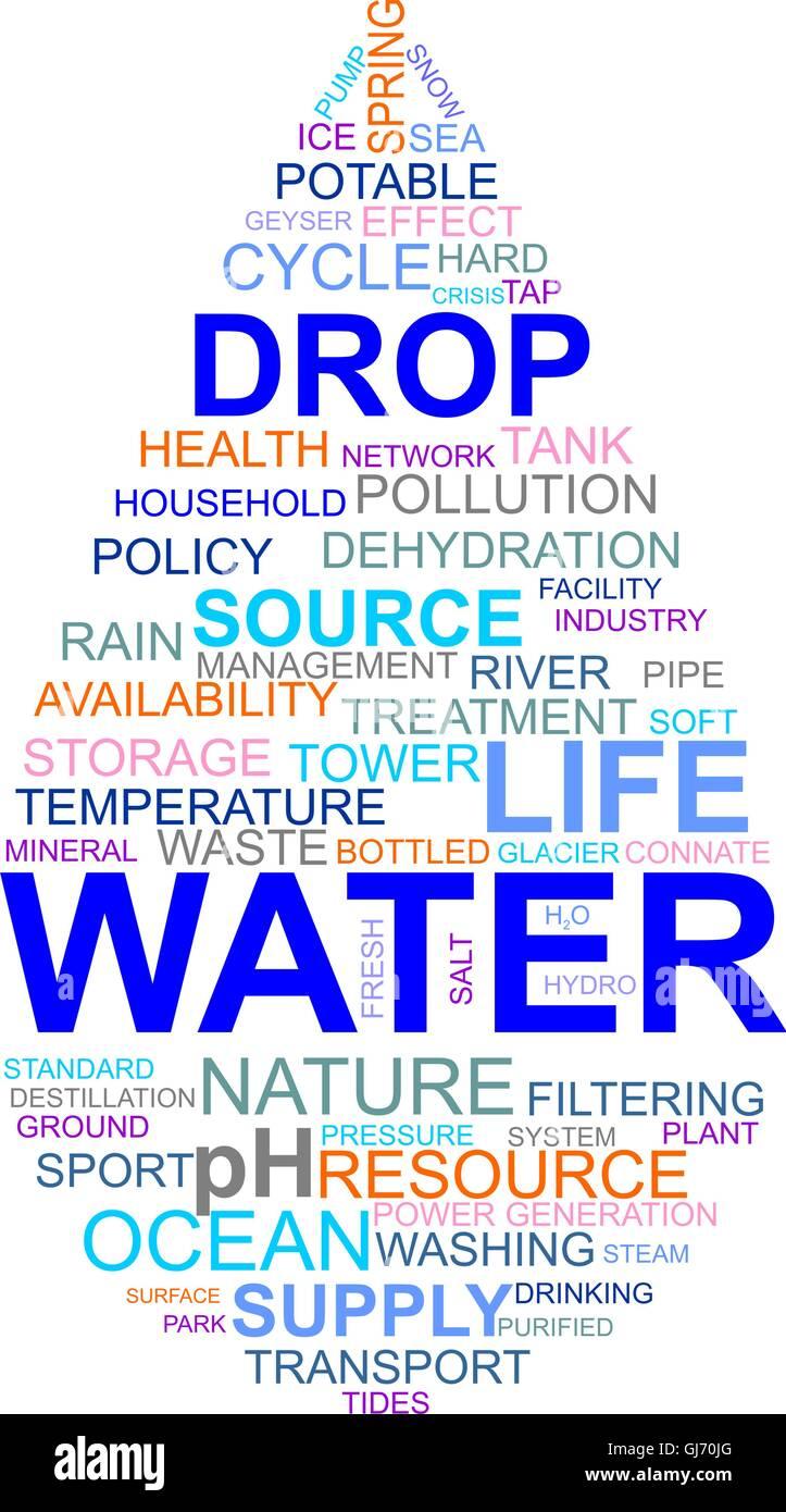 word cloud - water drop Stock Vector