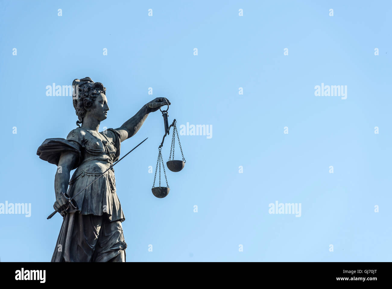 Frankfurt am Main, Hesse, Germany, 'Justitia Statue' at the 'Gerchtigkeitsbrunnen' (fountain) at - Stock Image