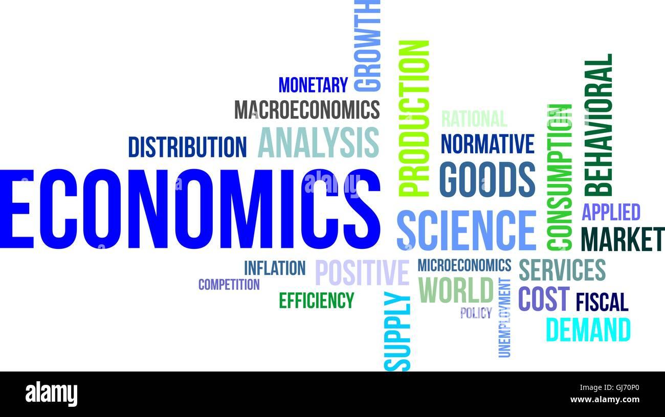word cloud - economics - Stock Image