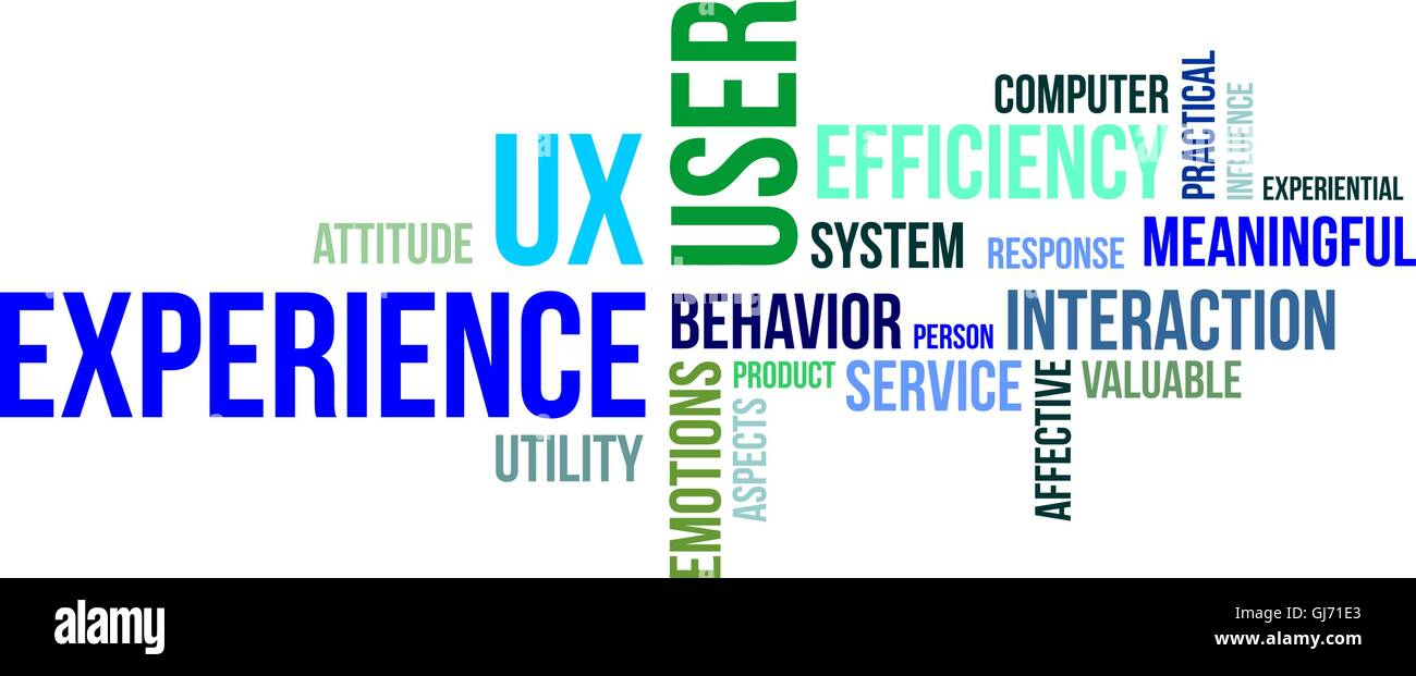 word cloud - user experience - Stock Image