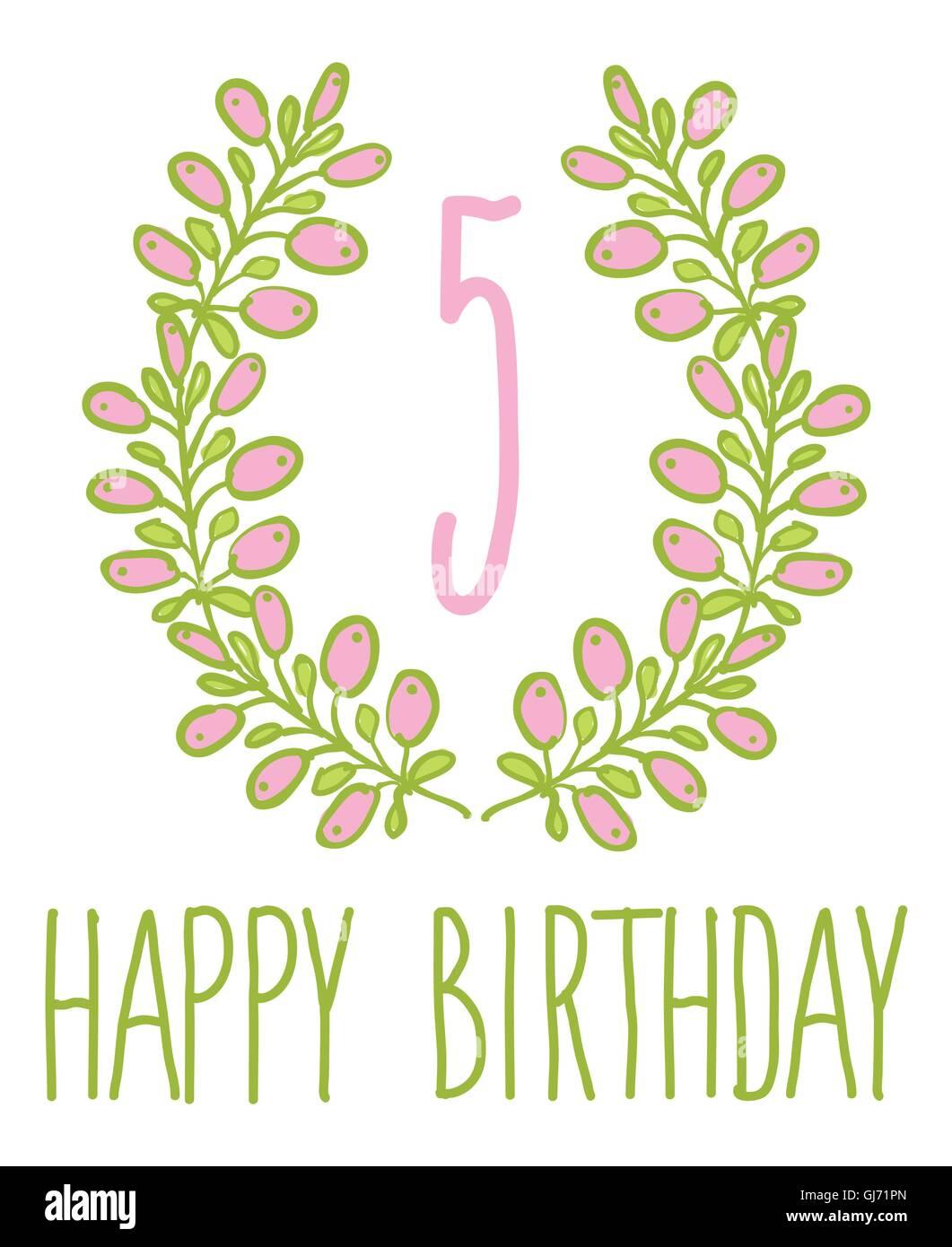 Happy birthday card invitation with Set - Stock Vector
