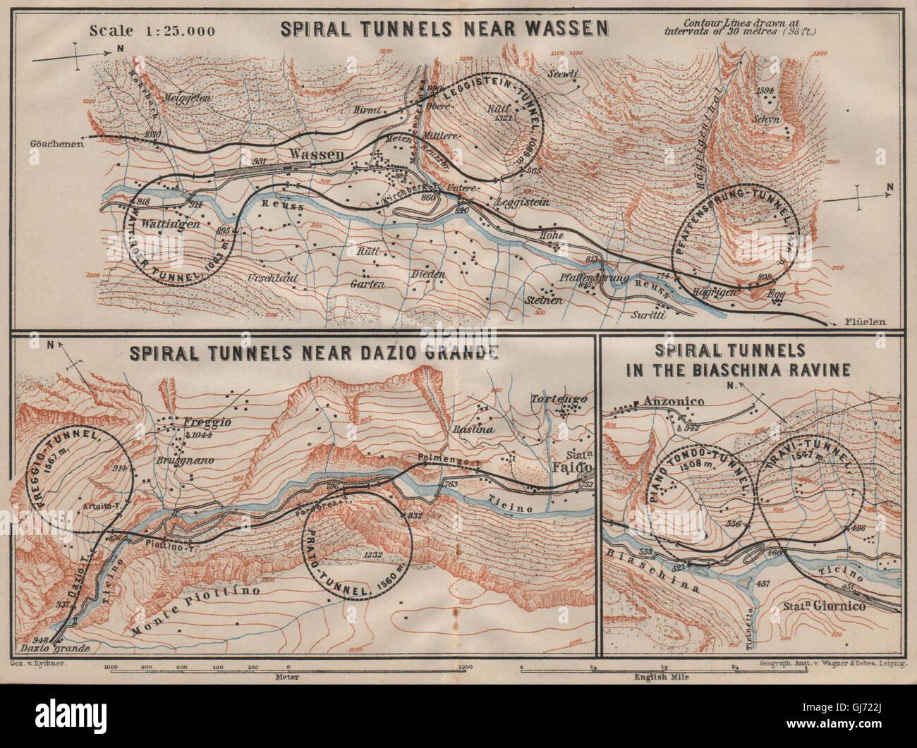 ST GOTTHARD RAILWAY SPIRAL/LOOP TUNNELS Wassen Freggio Prato Biaschina, 1911 map Stock Photo