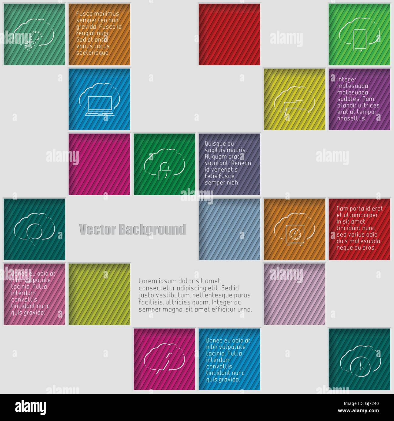 Squares background with infographic elements - Stock Image