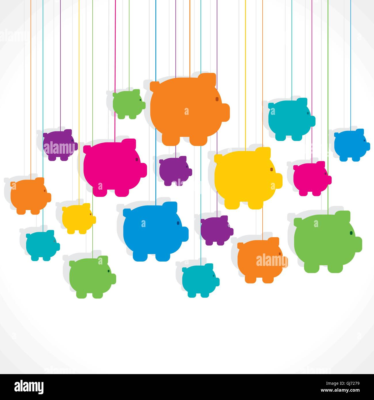 colorful hang piggy bank background Stock Vector