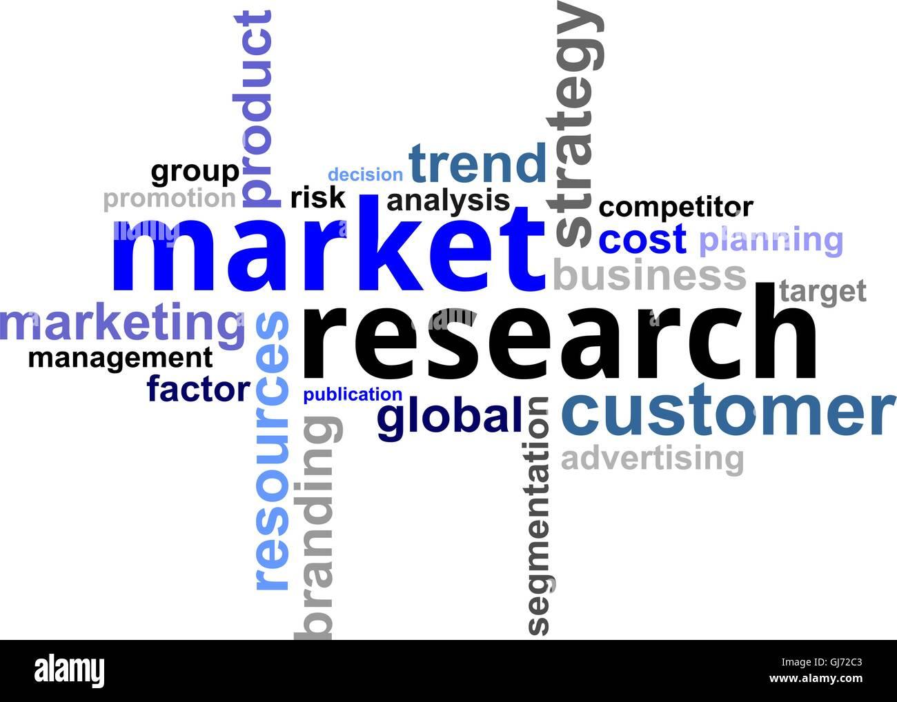 word cloud - market research - Stock Vector