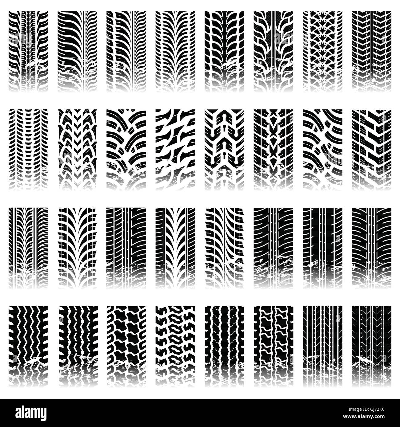 Set of tileable tire track patterns - Stock Image