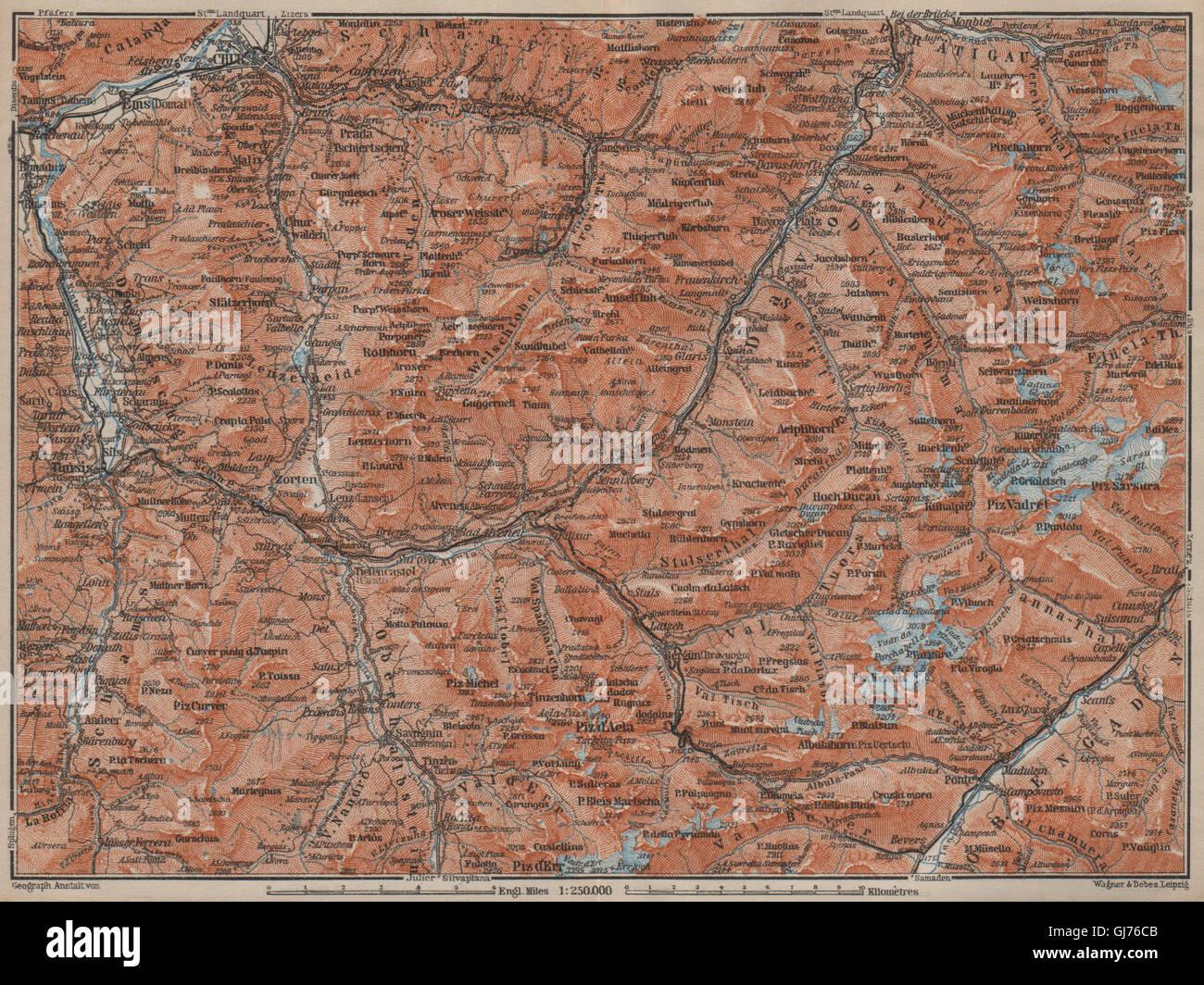 Arosa Lenz Davos Savognin Thusis 1901 map GRAUBÜNDEN//ALBULA ALPS Chur-Samedan