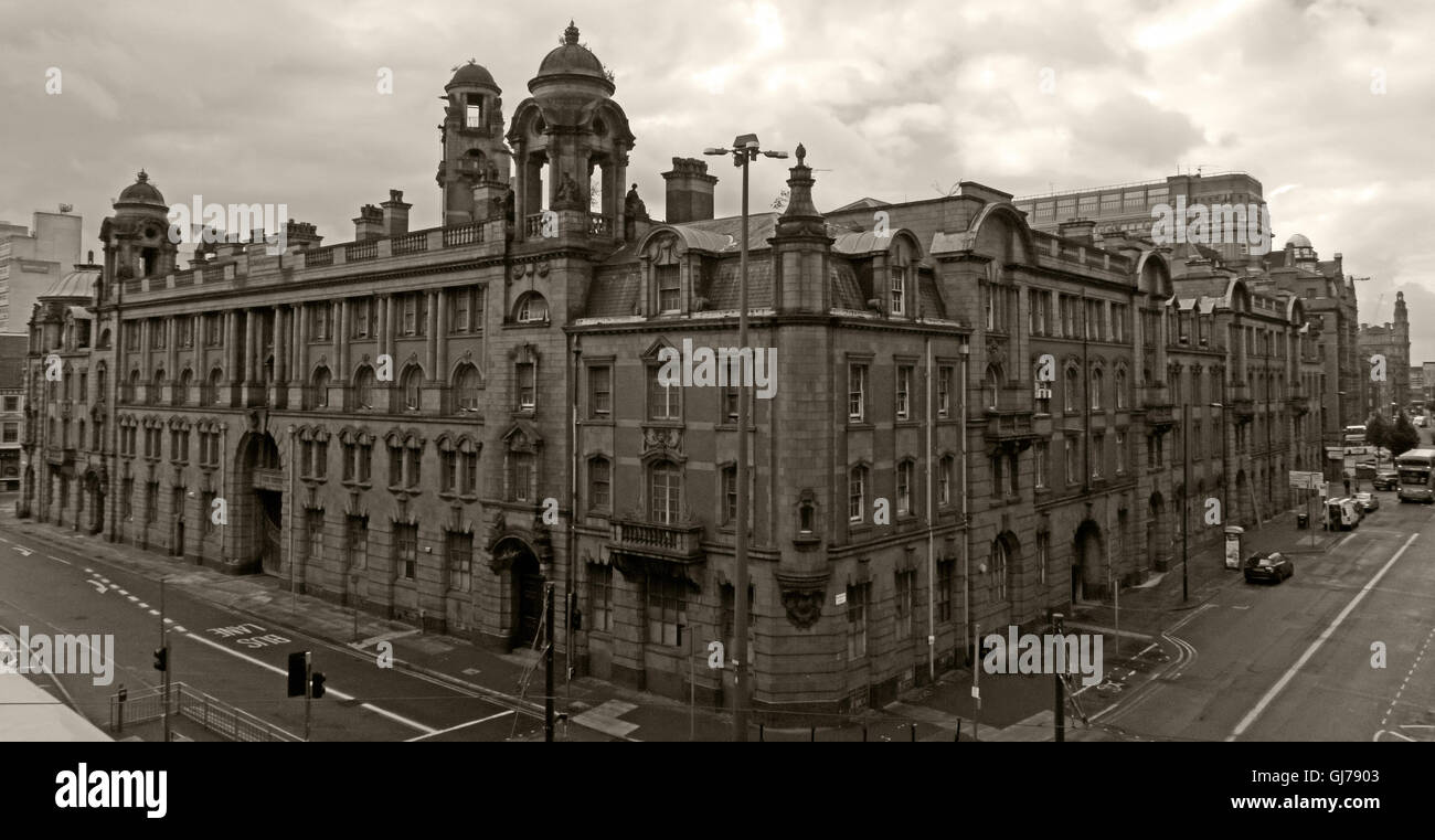 Sepia wide image of 50 London Road Fire Station, Manchester, M1 2PH - Stock Image