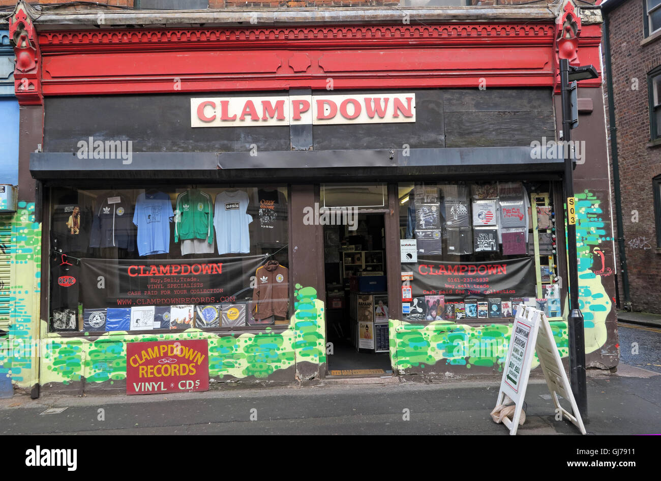 Clampdown Records, Northern Quarter Artwork, NQ, Manchester, North West England, UK, M1 1JR - Stock Image