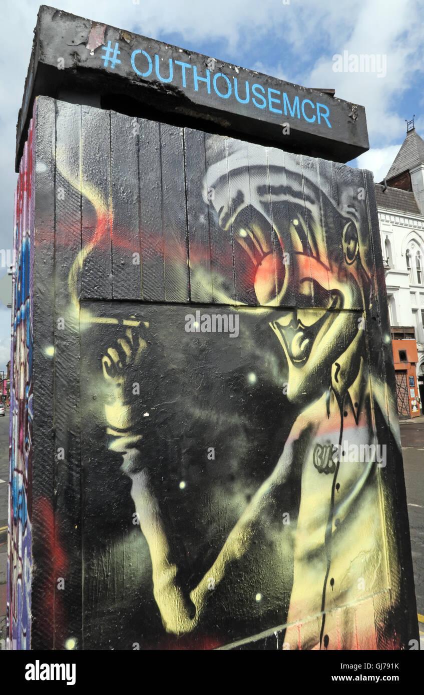 Northern Quarter Art in Stevenson Square Manchester, UK - Wall Graffiti August2016 OUTHOUSEMCR - Stock Image