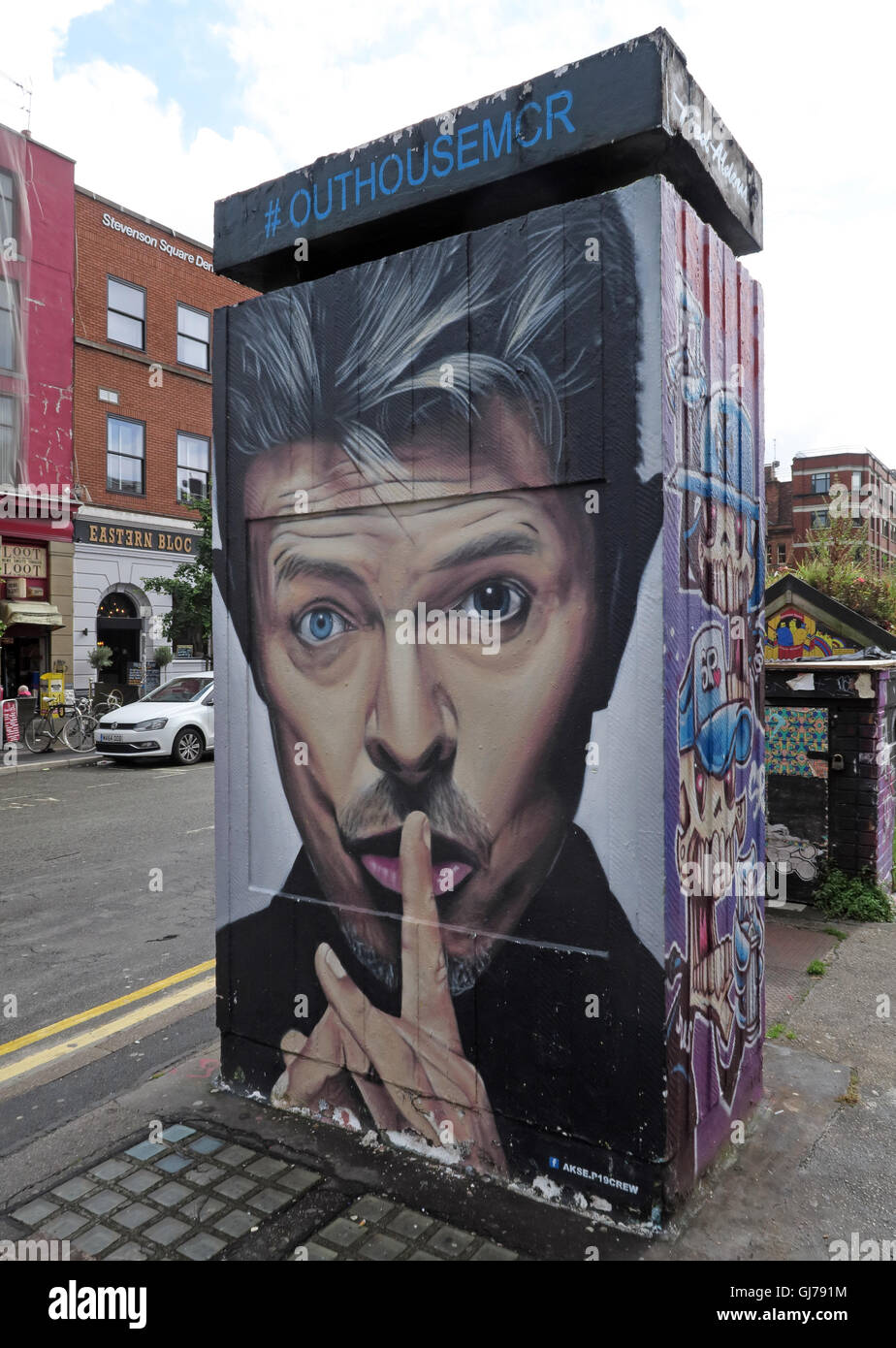 Northern Quarter Art in Stevenson Square Manchester, UK - Wall Graffiti August2016 OUTHOUSEMCR - Stock Image