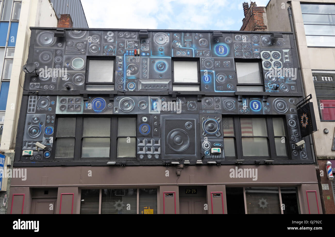 HiFi shop front, Northern Quarter Artwork, NQ, Manchester, North West England, UK, M1 1JR - Stock Image