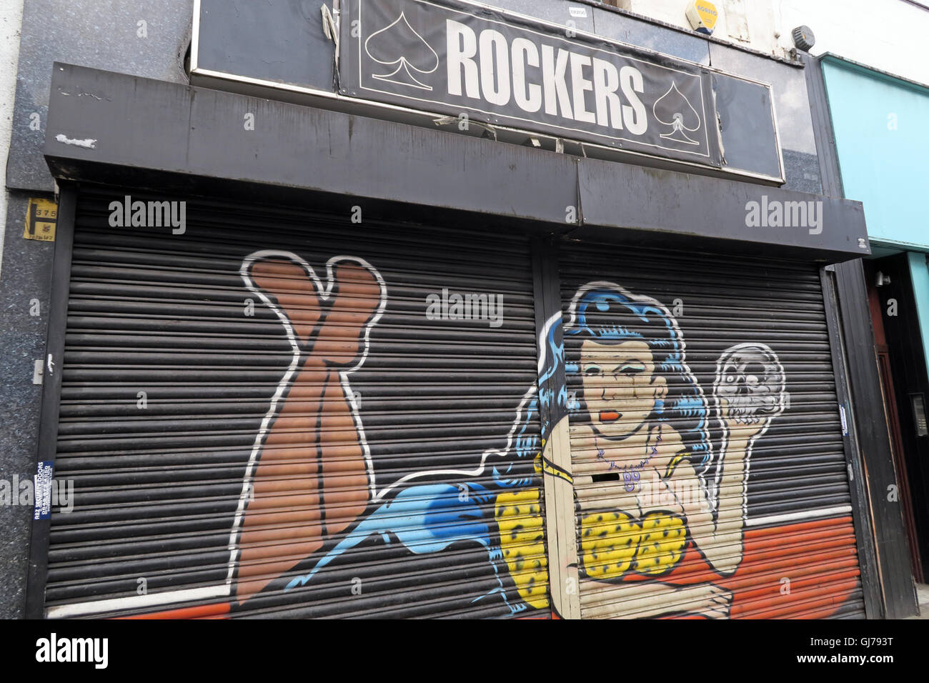 Rockers England shop shutters,  Northern Quarter Artwork, NQ, Manchester, North West England, UK, M1 1JR - Stock Image