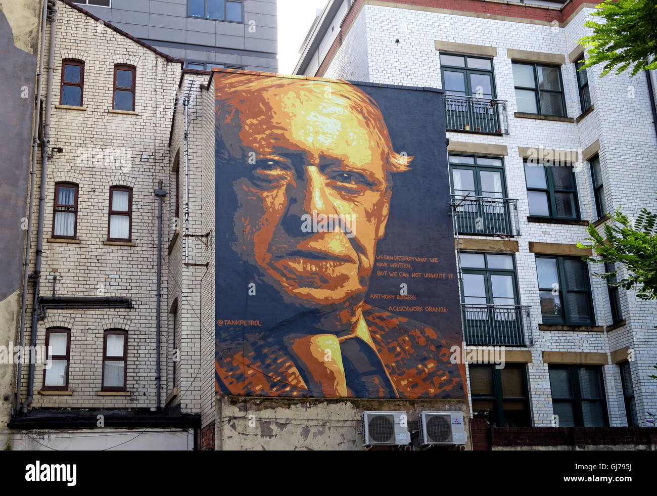 Author Anthony Burgess mural art work, Northern Quarter, Brightwell walk, Manchester M4 5JD - Stock Image