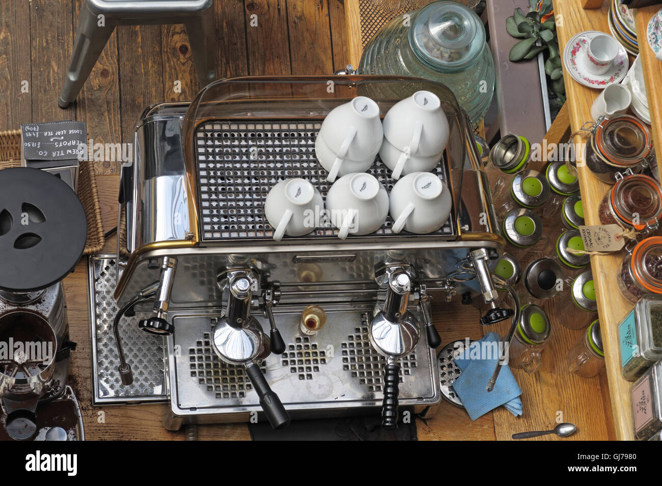 Coffee Machine, Manchester Craft and Design Centre Cafe, 17 Oak St, Manchester, UK M4 5JD - Stock Image