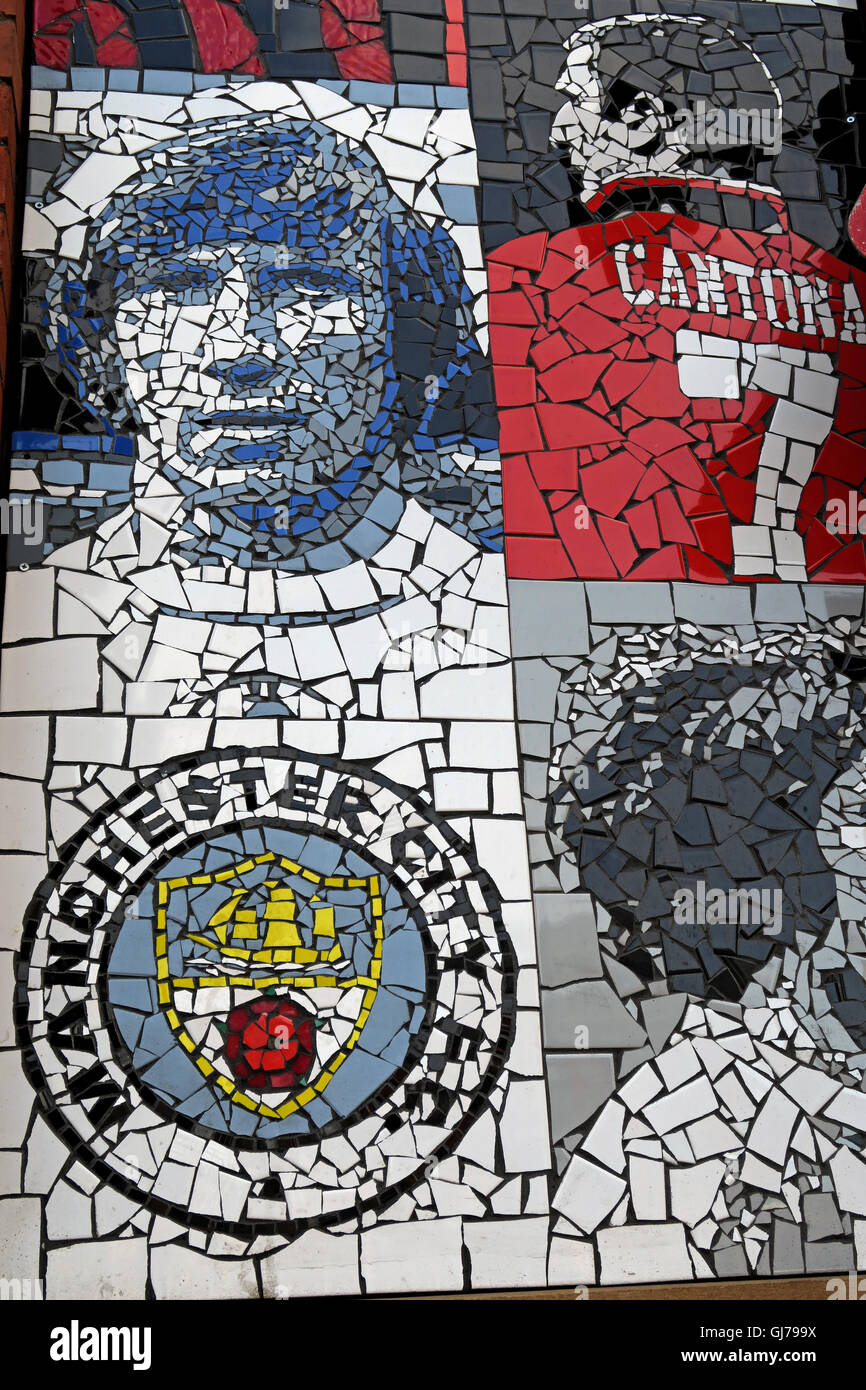 Afflecks Palace Manchester Football heroes,Colin Bell,Cantona,MCFC - Stock Image