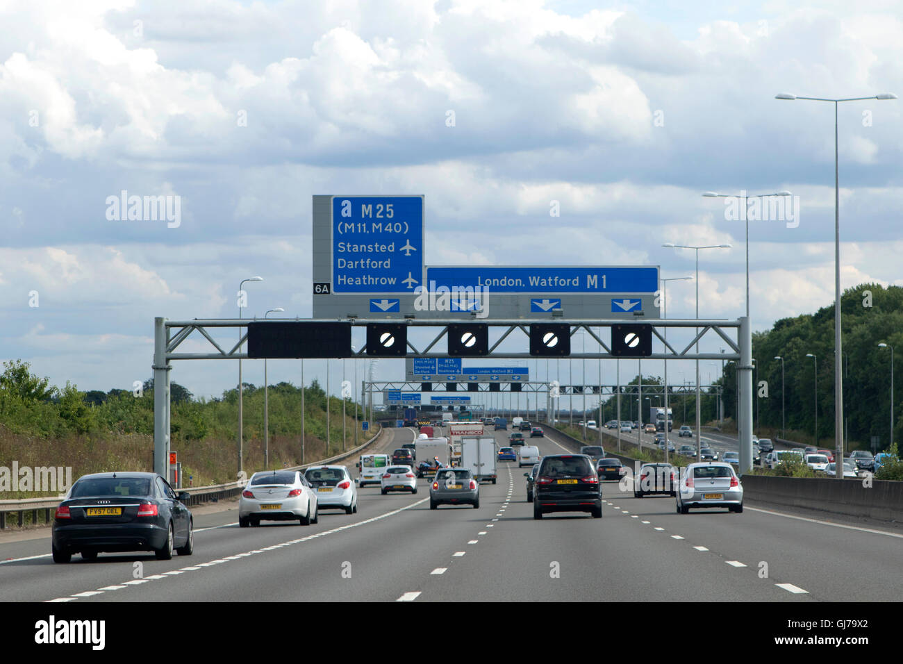 Heavy traffic on the M1 southbound motorway in England near London at junction 6A - Stock Image