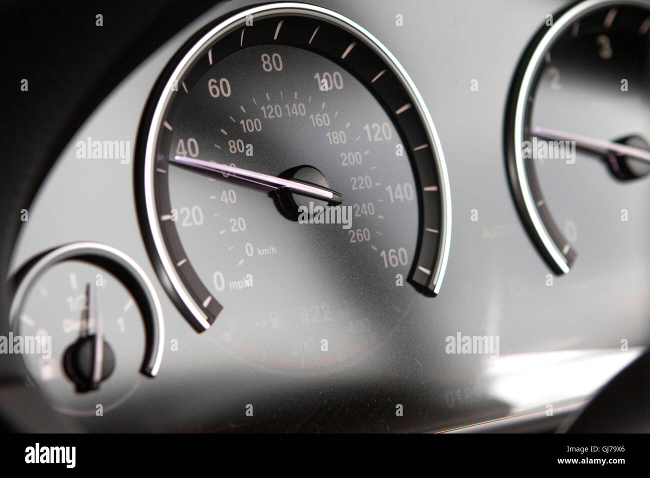 Close Up Interior Detail Speedometer Dashboard Of A F10 Bmw 5 Series Sedan Saloon